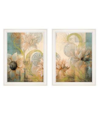 """Meandering Flowers I II 2-Piece Vignette by Dee Dee, White Frame, 21"""" x 27"""""""