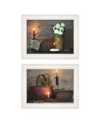 """White / Red baskets 2-Piece Vignette by Susie Boyer, White Frame, 19"""" x 15"""""""