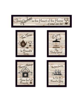 """Kitchen Friendship Collection II 5-Piece Vignette by Millwork Engineering, Black Frame, 32"""" x 10"""""""