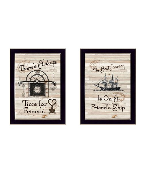 "Trendy Decor 4U Trendy Decor 4U Friendship Journey 2-Piece Vignette by Millwork Engineering, Black Frame, 10"" x 14"""