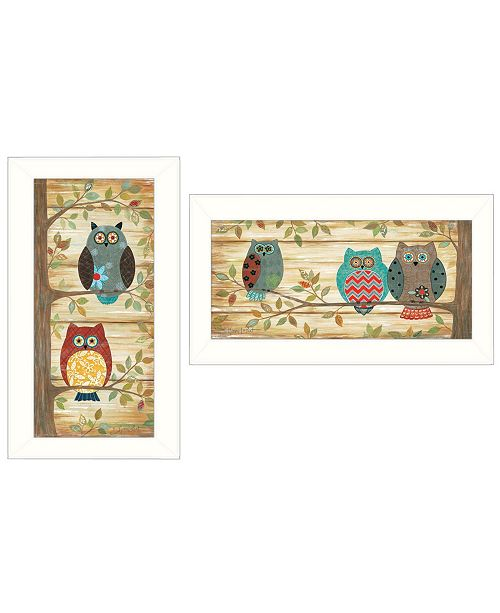 "Trendy Decor 4U Trendy Decor 4U Whimsical Owls 2-Piece Vignette by Annie LaPoint, White Frame, 20"" x 11"""