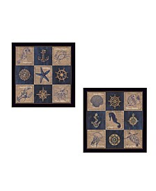 """Coastal Collage Collection By Debbie DeWitt, Printed Wall Art, Ready to hang, Black Frame, 28"""" x 14"""""""
