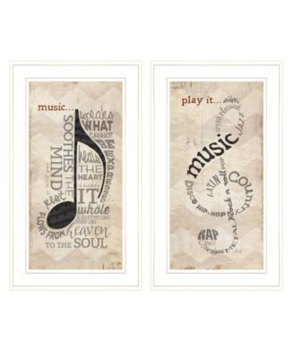"""Music Collection 2-Piece Vignette By Marla Rae, White Frame, 11"""" x 21"""""""