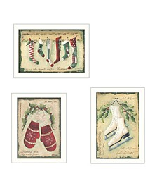 """Vintage-Like Christmas Collection By Jill Ankrom, Printed Wall Art, Ready to hang, White Frame, 42"""" x 20"""""""