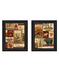 """Lodge Collage Collection By Ed Wargo, Printed Wall Art, Ready to hang, Black Frame, 28"""" x 18"""""""