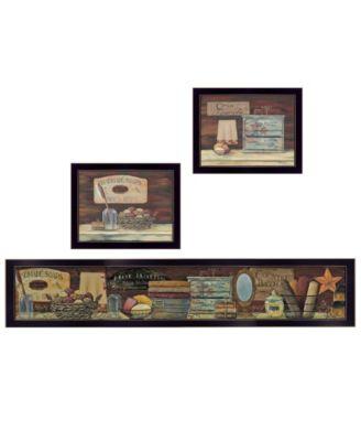 """COUNTRY BATH 1 3-Piece Vignette by Pam Britten, Black Frame, 38"""" x 13"""""""