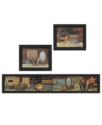"""Country Bath I Collection By Pam Britton, Printed Wall Art, Ready to hang, Black Frame, 67"""" x 17"""""""