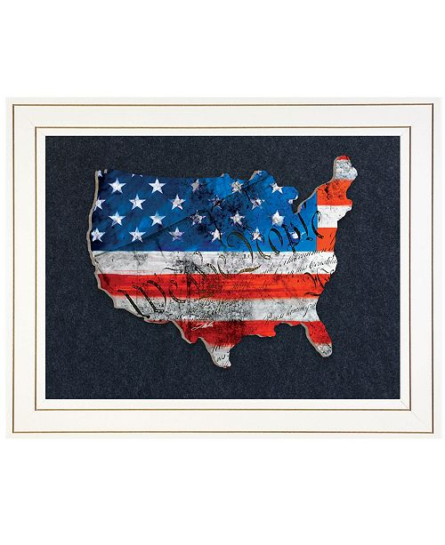 "Trendy Decor 4U Trendy Decor 4U WTP American Flag We the People by Tim Dardis, Ready to hang 3D Framed Print, White Frame, 19"" x 15"""