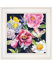 "Trendy Decor 4U Navy English Garden I by Barb Tourtillotte, Ready to hang Framed Print, White Frame, 15"" x 15"""