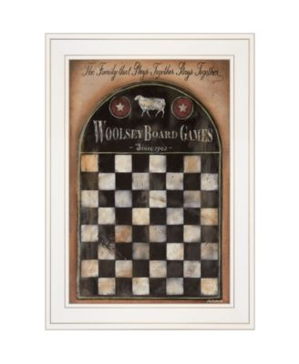 """Woolsey Board Game by Pam Britton, Ready to hang Framed Print, White Frame, 15"""" x 21"""""""