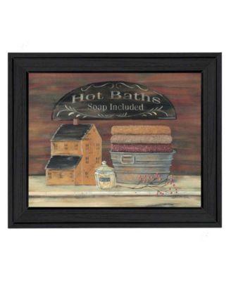 "Hot Bath By Pam Britton, Printed Wall Art, Ready to hang, Black Frame, 13"" x 16"""