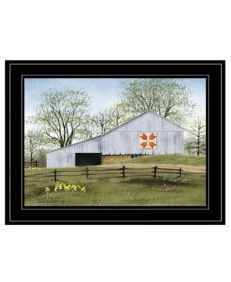 """Tulip Quilt Block Barn by Billy Jacobs, Ready to hang Framed Print, Black Frame, 19"""" x 15"""""""
