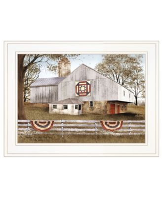 """American Star Quilt Block Barn by Billy Jacobs, Ready to hang Framed Print, White Frame, 19"""" x 15"""""""