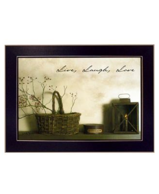"""Live, Laugh and Love By Billy Jacobs, Printed Wall Art, Ready to hang, Black Frame, 14"""" x 10"""""""
