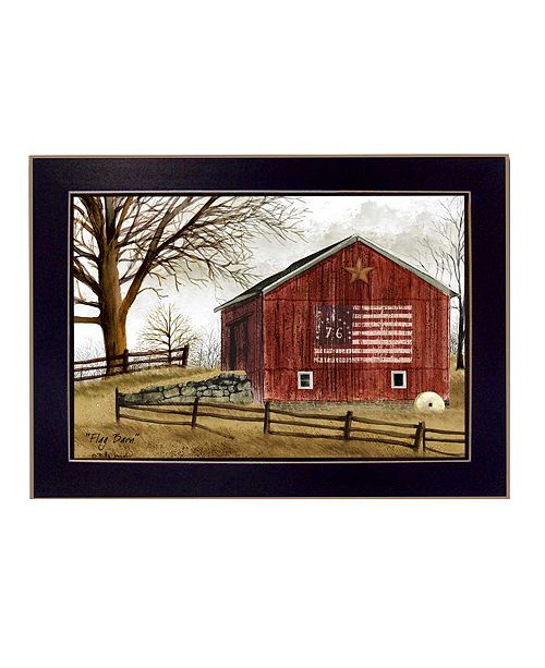 "Trendy Decor 4U Trendy Decor 4U Flag Barn By Billy Jacobs, Printed Wall Art, Ready to hang, Black Frame, 14"" x 10"""