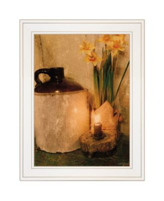 """Daffodils by Candlelight by Anthony Smith, Ready to hang Framed Print, White Frame, 15"""" x 21"""""""