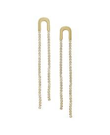 Double Crystal Chain Drop Earrings