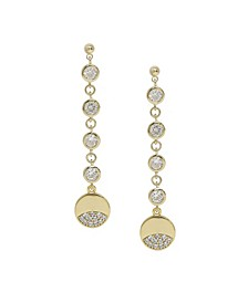 Dangle Dipped Gold and Crystal Earrings