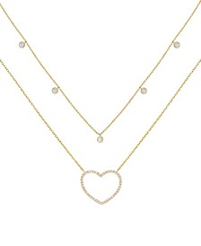 Crystal Heart Drop Layered Necklace, Set of 2