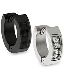Sutton Stainless Steel Two-Tone Cz Huggie Earring Set