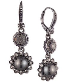 Hematite-Tone Crystal & Imitation Pearl Flower Double Drop Earrings