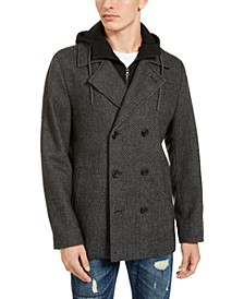 Men's Calloway Herringbone Peacoat with Attached Hooded Bib, Created For Macy's