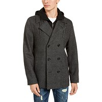 Deals on American Rag Mens Calloway Herringbone Peacoat w/Hooded Bib