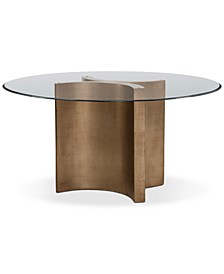 "Symmetry 54"" Glass Top Round Dining Table"