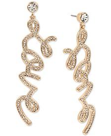 Gold-Tone Pavé Love Drop Earrings