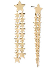 Gold-Tone Star Double-Fringe Linear Drop Earrings