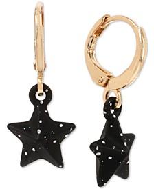 "Gold-Tone Splatter Star Huggie Small Hoop Earrings, 1"""