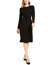 Petite Twist-Front Fit & Flare Dress, Created For Macy's