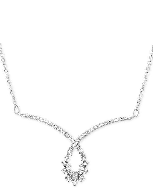 "Macy's Diamond Swirl Scatter Loop 15-1/2"" Statement Necklace (1/2 ct. t.w.) in 10k White Gold"