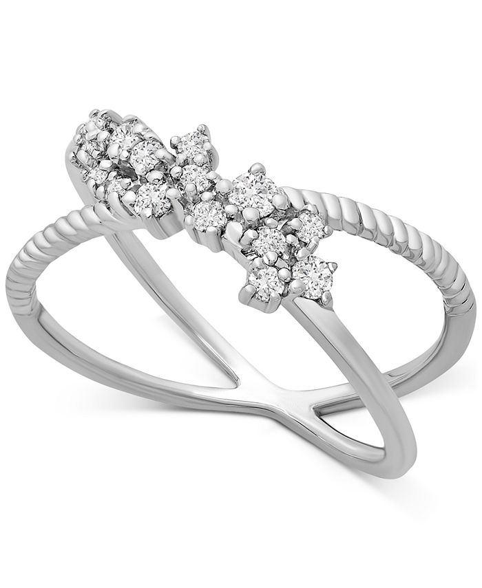 Macy's - Diamond Cluster Crissross Cluster Ring (1/4 ct. t.w.) in 10k White Gold