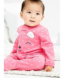 Baby Girls Bear Zip-Up Fleece Coveralls
