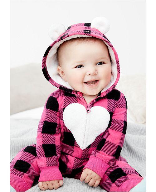 Carter's Baby Girls Buffalo Check Hooded Full-Zip Jumpsuit