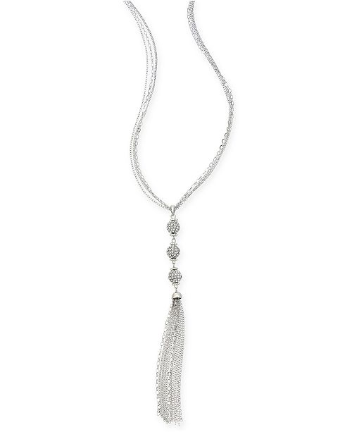 "Charter Club Silver-Tone Crystal Chain Tassel Long Necklace, 24"" + 3"" extender, Created for Macy's"