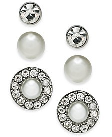 Silver-Tone 3-Pc. Set Crystal & Imitation Pearl Stud Earrings, Created For Macy's
