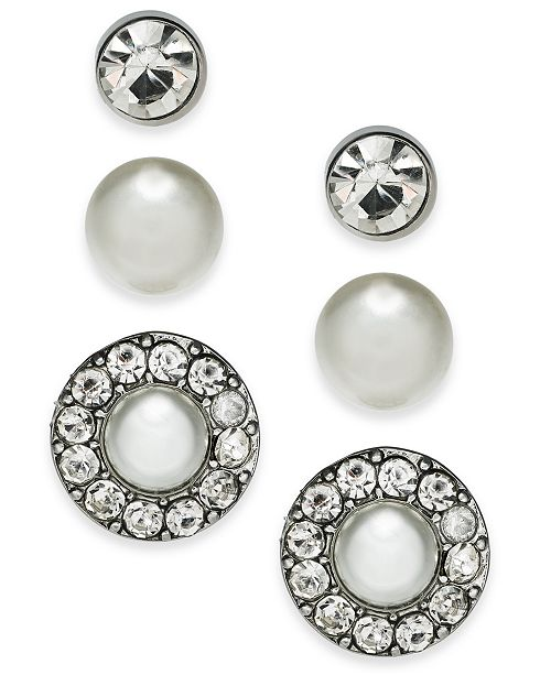 Charter Club Silver-Tone 3-Pc. Set Crystal & Imitation Pearl Stud Earrings, Created For Macy's