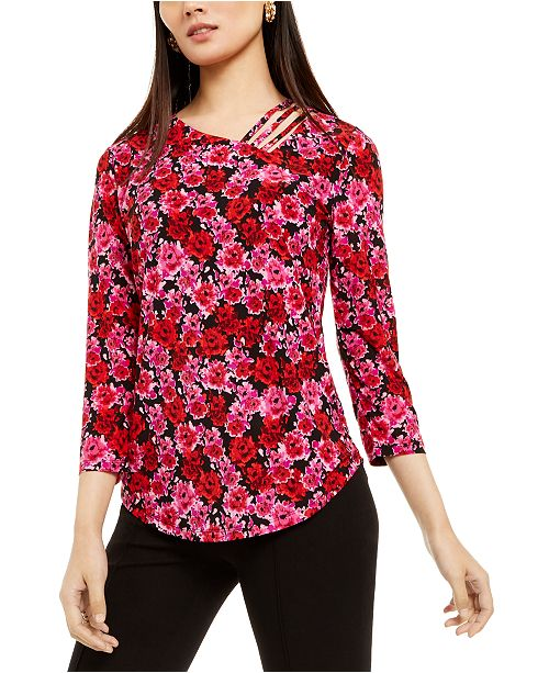 INC International Concepts INC Strappy Floral-Print Top, Created For Macy's