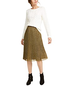 Imitation-Pearl Sweater & Pleated Midi Skirt, Created For Macy's
