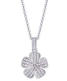 Diamond 1/4 ct. t.w. Flower Pendant Necklace in Sterling Silver
