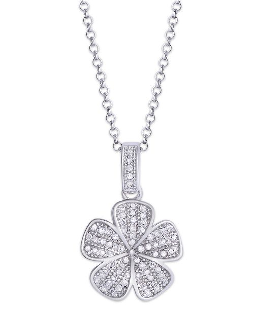Macy's Diamond 1/4 ct. t.w. Flower Pendant Necklace in Sterling Silver