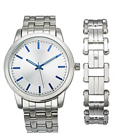 INC Men's Silver-Tone Bracelet Watch 42mm & Bracelet Set, Created For Macy's