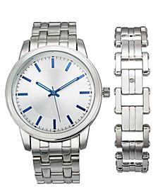 INC Men's Silver-Tone Bracelet Watch 42mm & Bracelet Set, Created for Macy's