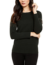 Alfani Embellished Fringe Sweater, Created For Macy's