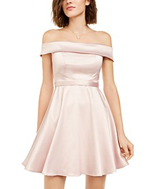 Juniors' Off-The-Shoulder Satin Dress