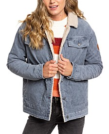 Bright Night Cotton Corduroy Jacket With Faux-Sherpa Trim