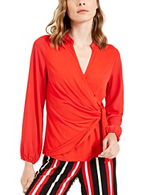 Faux-Wrap Surplice Top, Created for Macy's