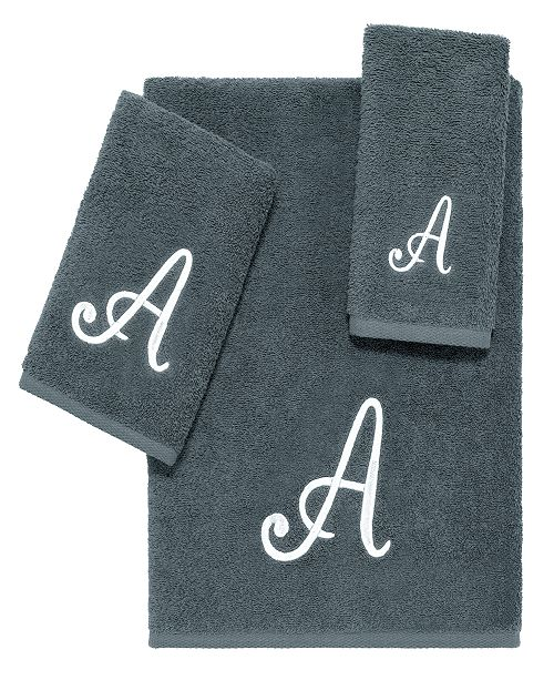 Avanti Grey Script Monogram 3-Pc. Towel Set